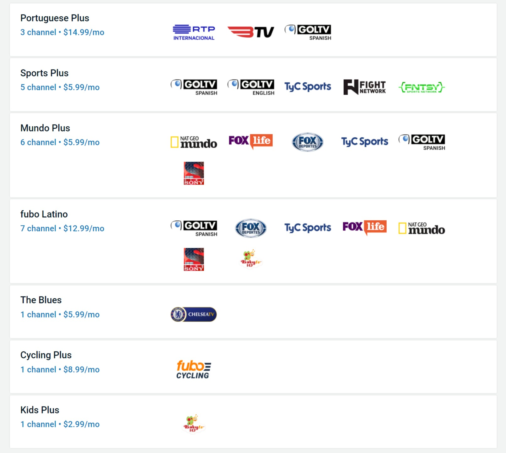 fuboTV add-ons